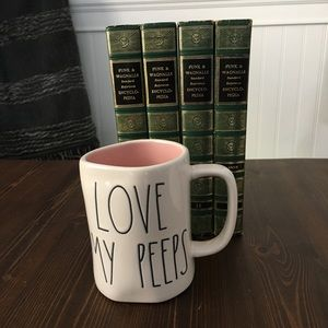 "Rae Dunn ""Love my peeps"" (inside colour pink) mug"
